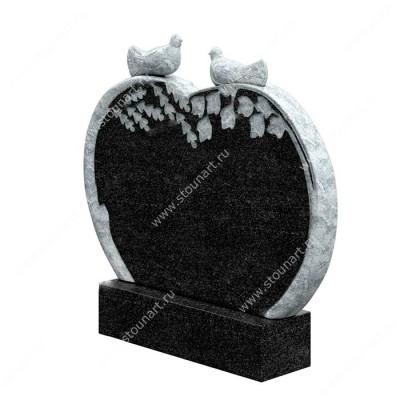 Памятник сердце с голубем ПС-002
